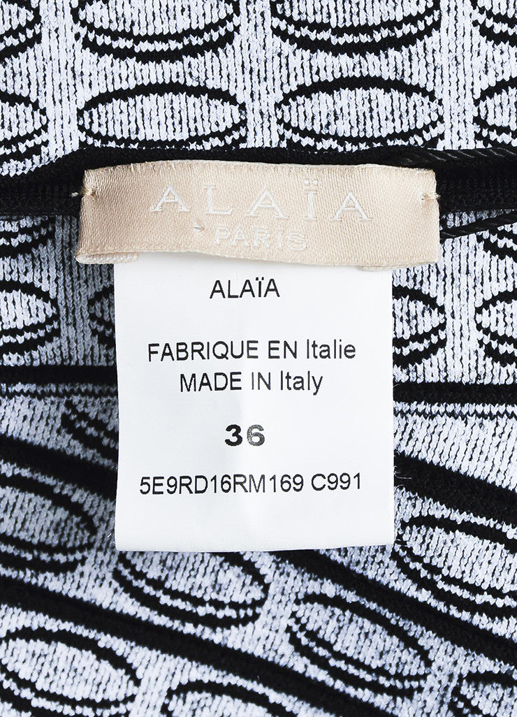 Black and White Alaia Circle Knit 3D Ruffle Sleeveless Flared Dress Brand