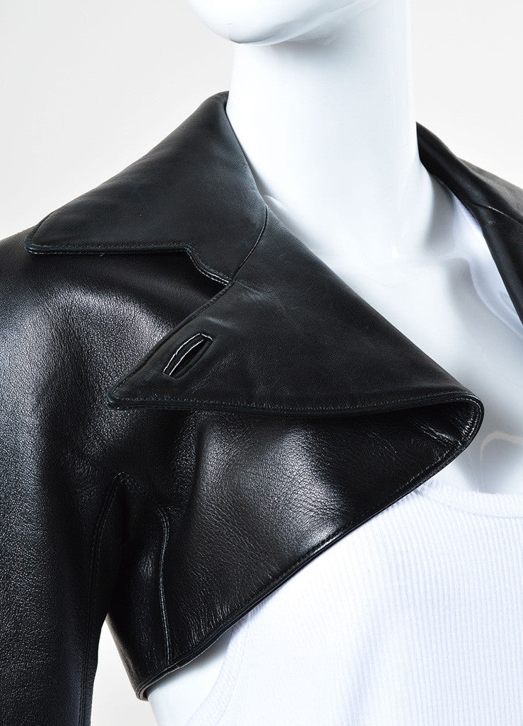 Alaia Black Lamb Leather Cropped Moto Bolero Jacket Detail