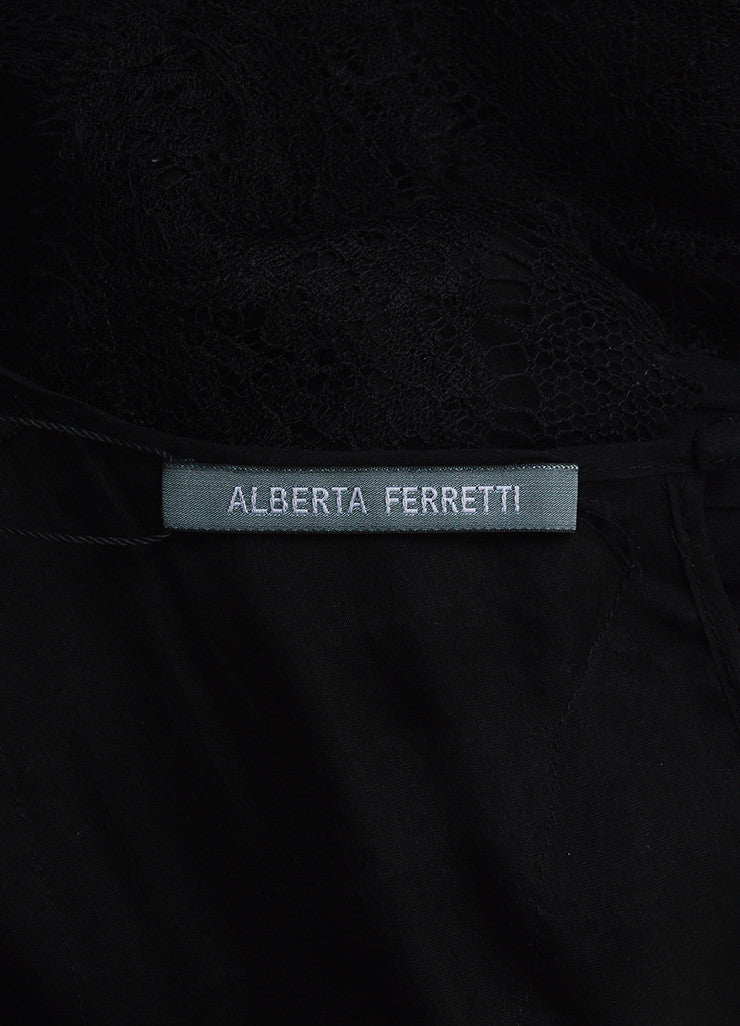 Alberta Ferretti Black Sheer Silk Lace Pleated Structured Sleeveless Gown Brand