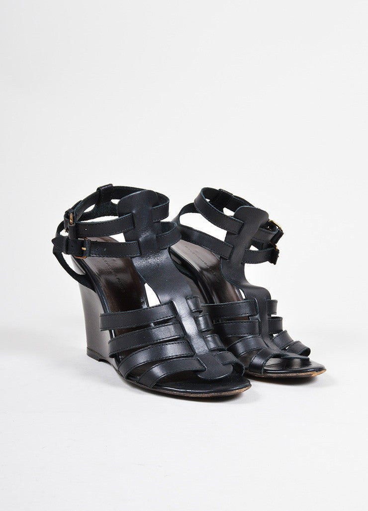 Balenciaga Black Leather Cage Strap Stacked Wedge Sandals Frontview