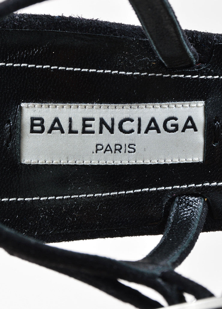 Balenciaga Black Suede Leather Buckle Ankle Strap Sandals Brand