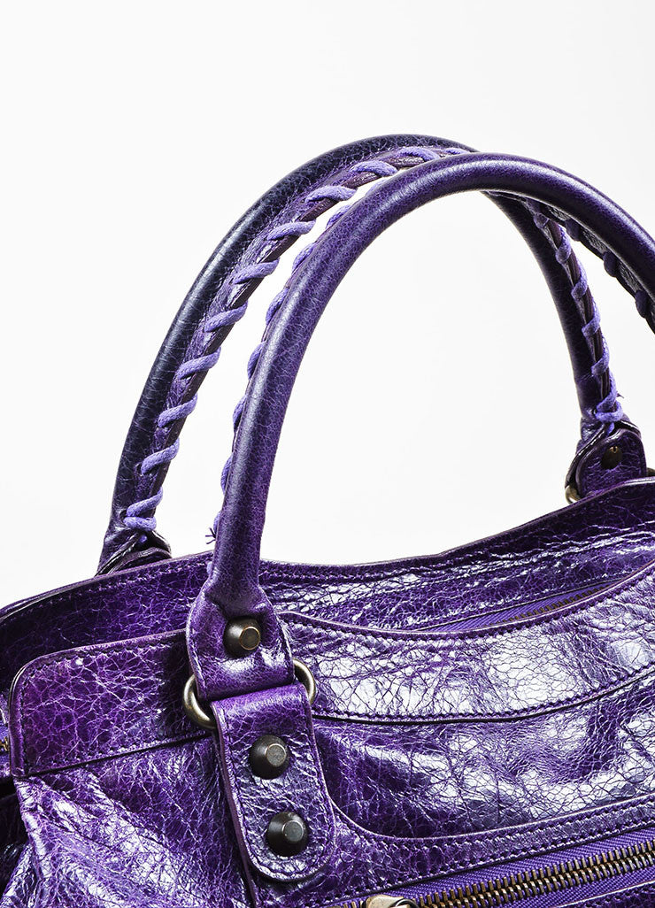 "Balenciaga Purple Wrinkled Leather Brass Stud Fringe ""Classic Step"" Shoulder Bag Detail"