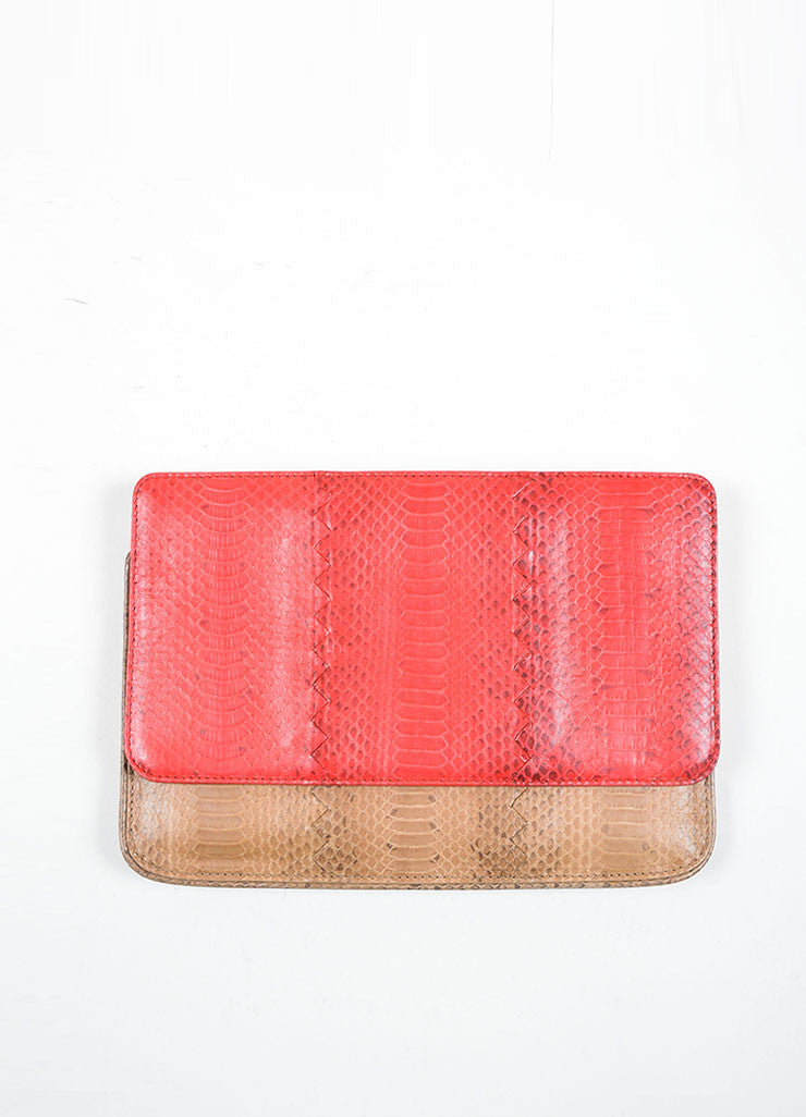 Bottega Veneta Red and Brown Snakeskin Clutch Bag Front