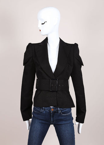 Boudicca Black Textured Knit Structured Belted Long Sleeve Blazer Frontview