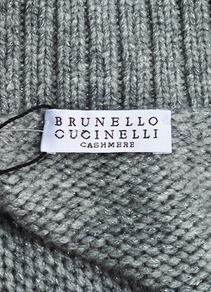 Grey Brunello Cucinelli Cashmere Rib Knit Fitted Button Cardigan Brand