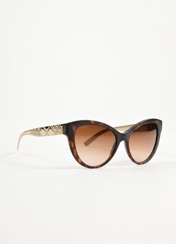 Burberry Brown Matte Tortoise Shell Silver Embossed Cat Eye Sunglasses Sideview