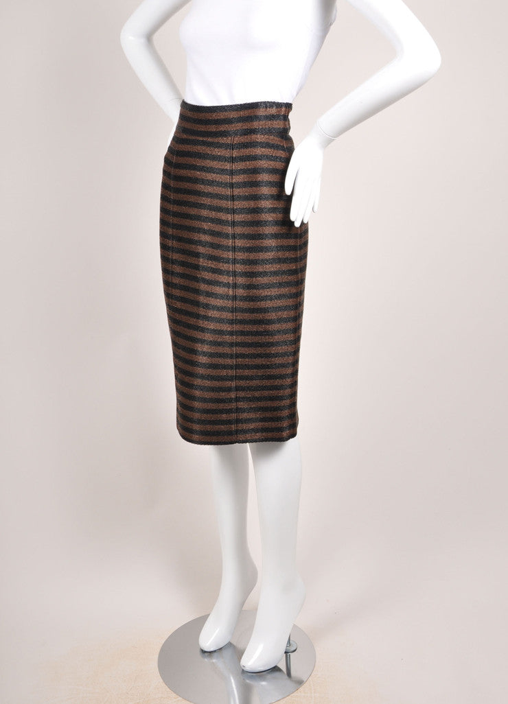 Burberry Prorsum Brown and Black Straw Knit Stripe High Waist Pencil Skirt Sideview