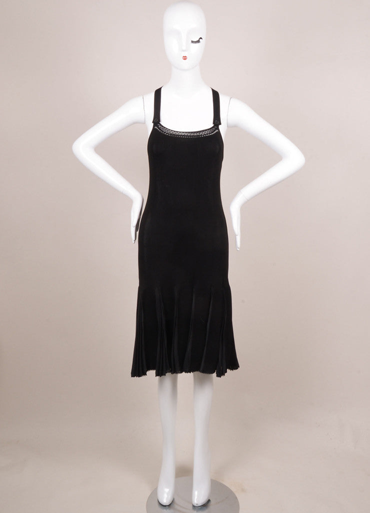 Chanel Black Knit Pleated Sleeveless Dress Frontview