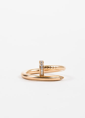 "18K Pink Gold Diamond ""Juste un Clou"" Wrap Around Nail Ring Frontview"