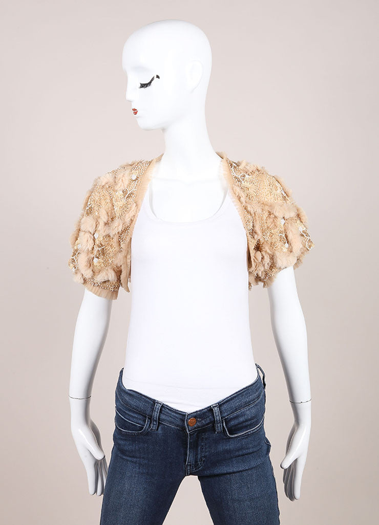 Cassin Beige Sequin Bead and Faux Fur Embellished Crop Evening Shrug  Frontview