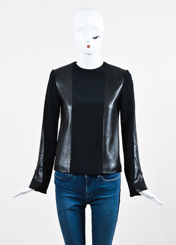 Black Celine Leather and Knit Combo Long Sleeve Top Frontview