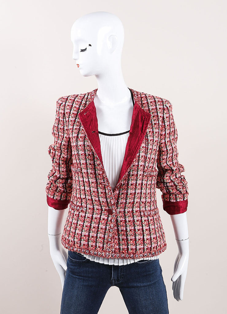 Chanel Red And Pink Cotton Wool Blend Tweed Collarless 'CC' Button Jacket Frontview