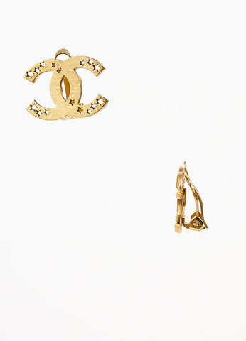 Chanel Matte Gold Toned Star Cut Out 'CC' Logo Clip On Earrings Sideview