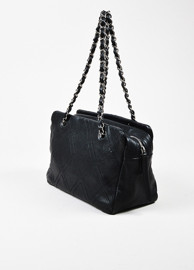Black Chanel Caviar Leather Silver Toned 'CC' Logo Diamond Stitch Chain Strap Bag Sideview