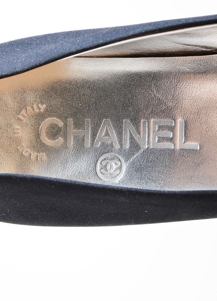 Black Chanel Classic Pointed Toe 'CC' Logo Mid Heel Pumps Brand