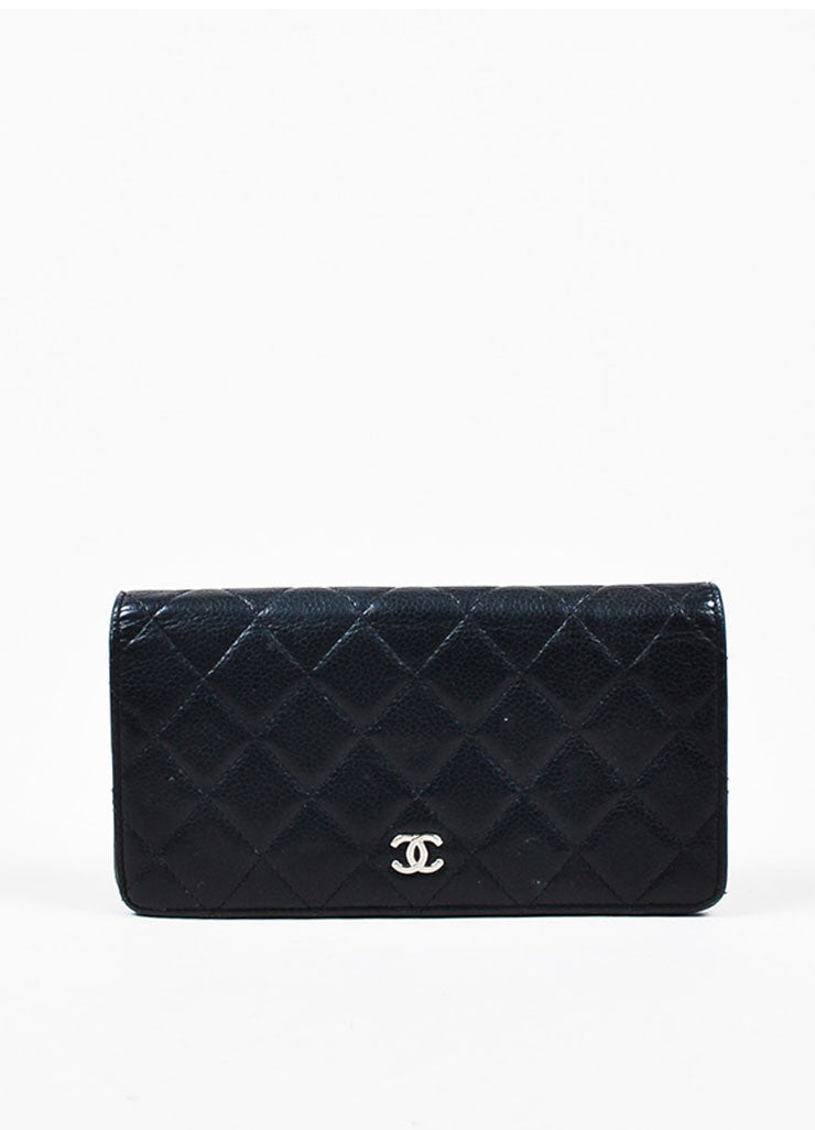 "Chanel Black Leather Quilted 'CC' Charm ""L Yen Holder"" Long Wallet Frontview"