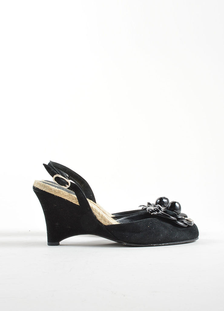 Chanel Black Suede Camellia Flower Espadrille Trim Slingback Wedges Side