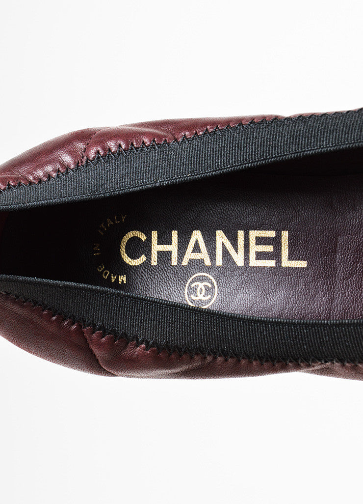 Chanel Maroon Black Leather Patent Trim Ruffle Almond Cap Toe Pumps Brand