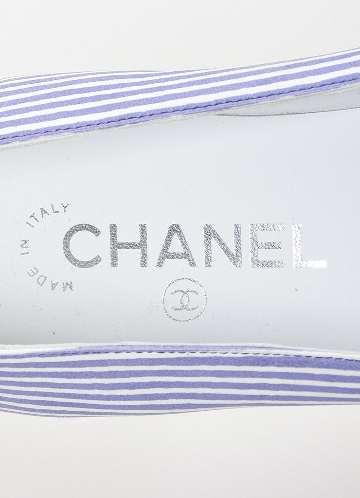 Chanel Blue and White Striped Leather Pointed Toe 'CC' Low Heel Flats Brand