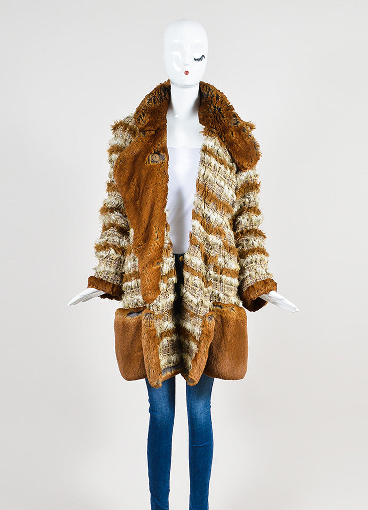 Brown and Cream Chanel Suede Tweed Striped Trim Fantasy Fur Coat Frontview