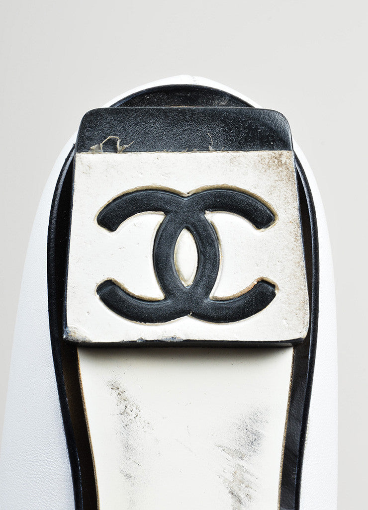 White, Black, and Gold Toned Chanel Tuxedo Collar Barbell Flats Brand