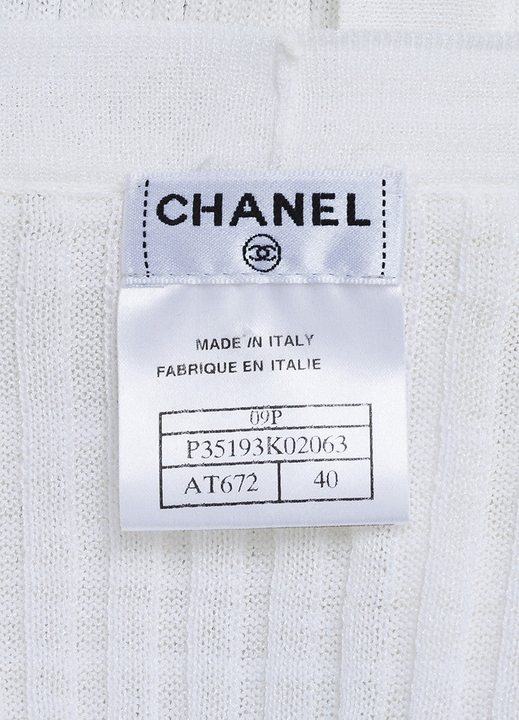 Chanel White Stretch Ribbed Knit Longline Short Sleeve Cardigan Brand