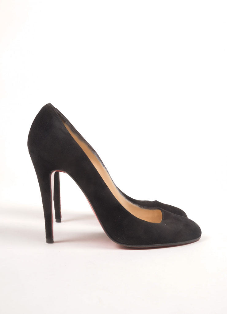 "Christian Louboutin Black Suede Leather ""Ron Ron 100mm"" Pumps Sideview"