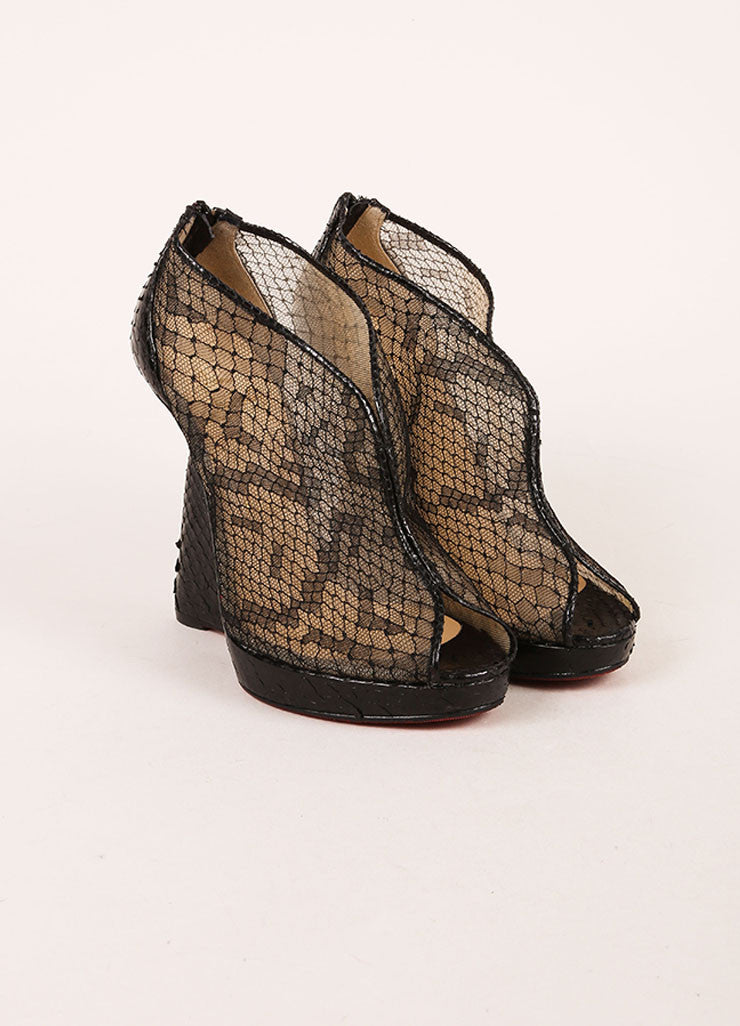 "Christian Louboutin Black Python Leather and Lace ""Janet"" Wedge Booties Frontview"
