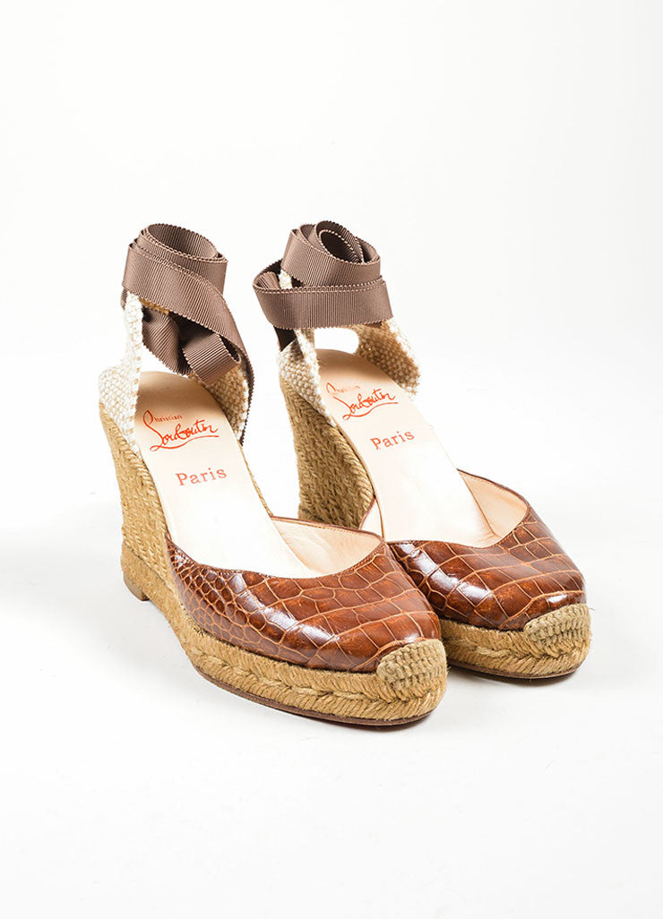Brown Christian Louboutin Alligator Woven Ankle Wrap Espadrille Wedges Frontview