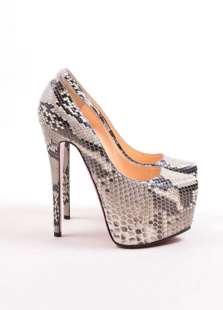 "Christian Louboutin Grey Snakeskin ""Daffodile 160"" Platform Pumps Sideview"