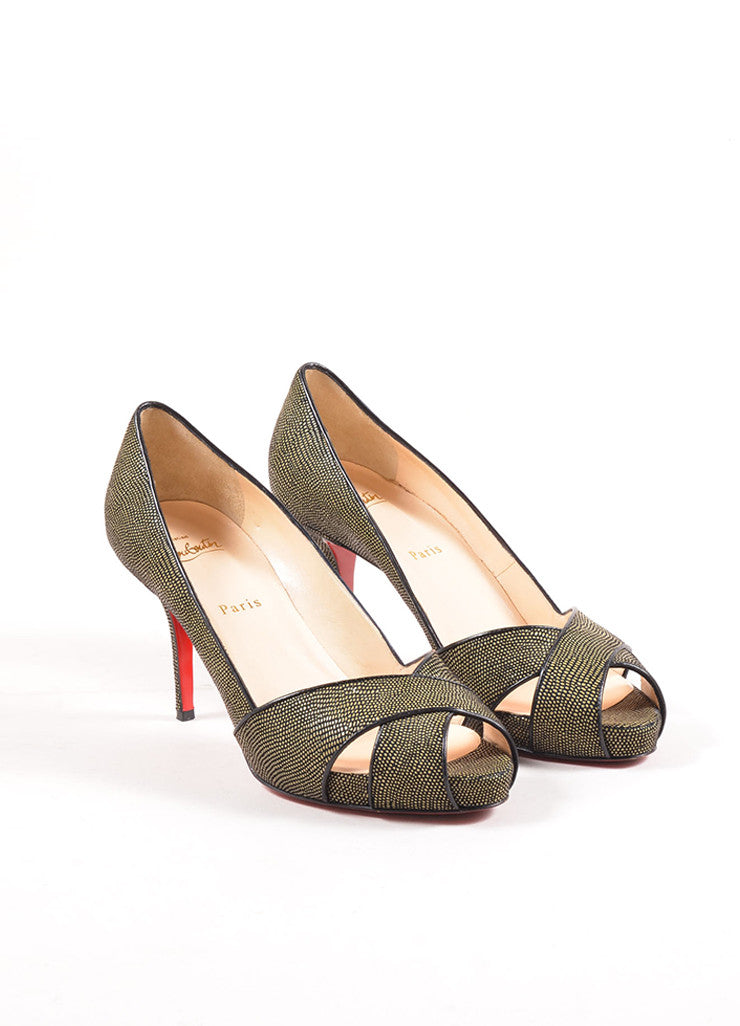 Christian Louboutin Green and Black Pebbled Cross Peep Toe Platform Pumps Frontview