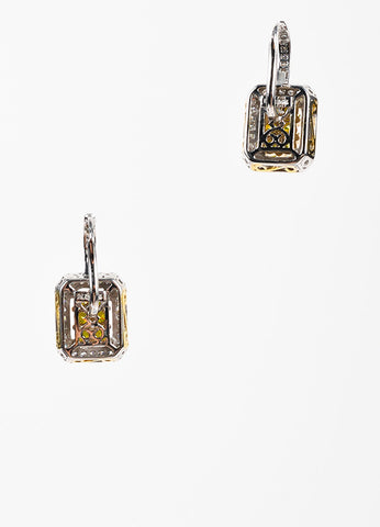"""DLC"" 14K White Yellow Gold Green Diamond Square Drop Earrings Backview"