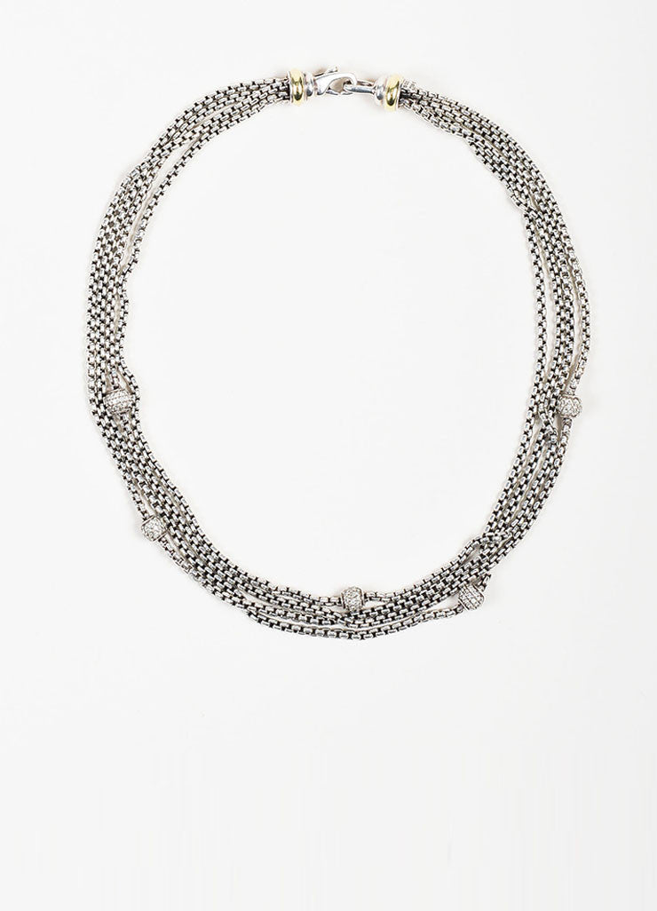 Sterling Silver, 18K Yellow Gold, and Diamond David Yurman Bead Multi Strand Necklace Frontview