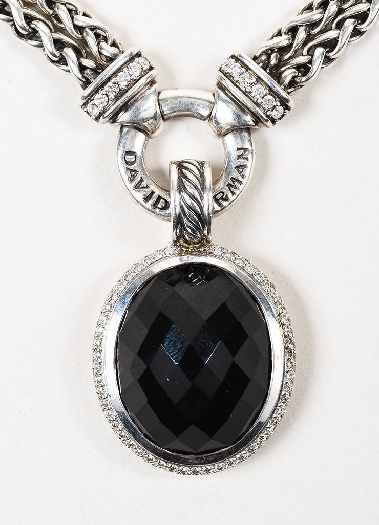 David Yurman Sterling Silver Black Onyx Diamond Double Wheat and Pendant Necklace Detail