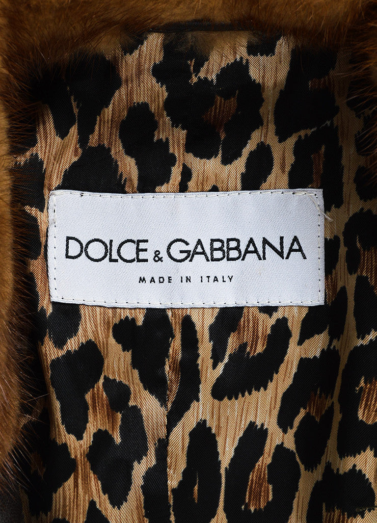 Dolce & Gabbana Brown Leather Fur Collar Long Jacket Brand