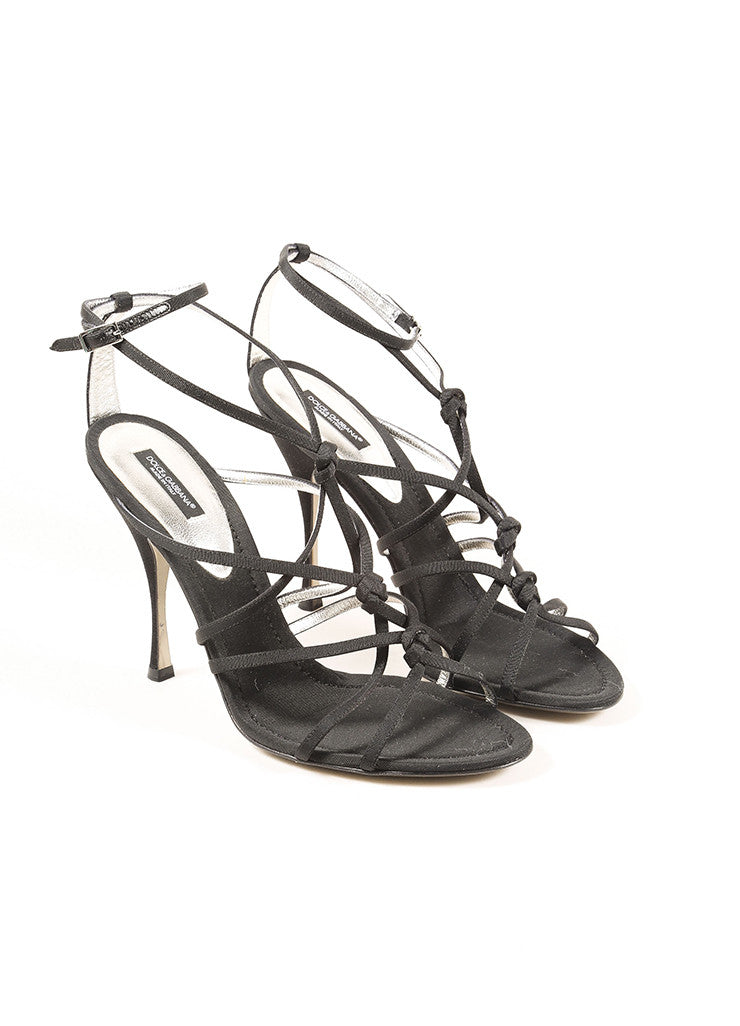 Dolce & Gabbana Black Grosgrain Knotted Strappy Sandals Frontview