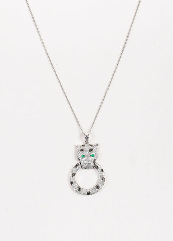 Effy 14K White Gold Diamond Emerald Panther Pendant Necklace Front