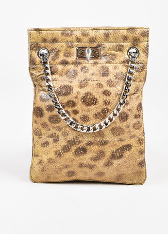 "Givenchy Tan Brown Cheetah Printed Leather ""Shark Tooth"" Chain Bag Front"