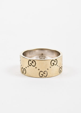 "Gucci 18K Yellow Gold 'GG' Engraved ""Icon Medium"" Band Ring Backview"