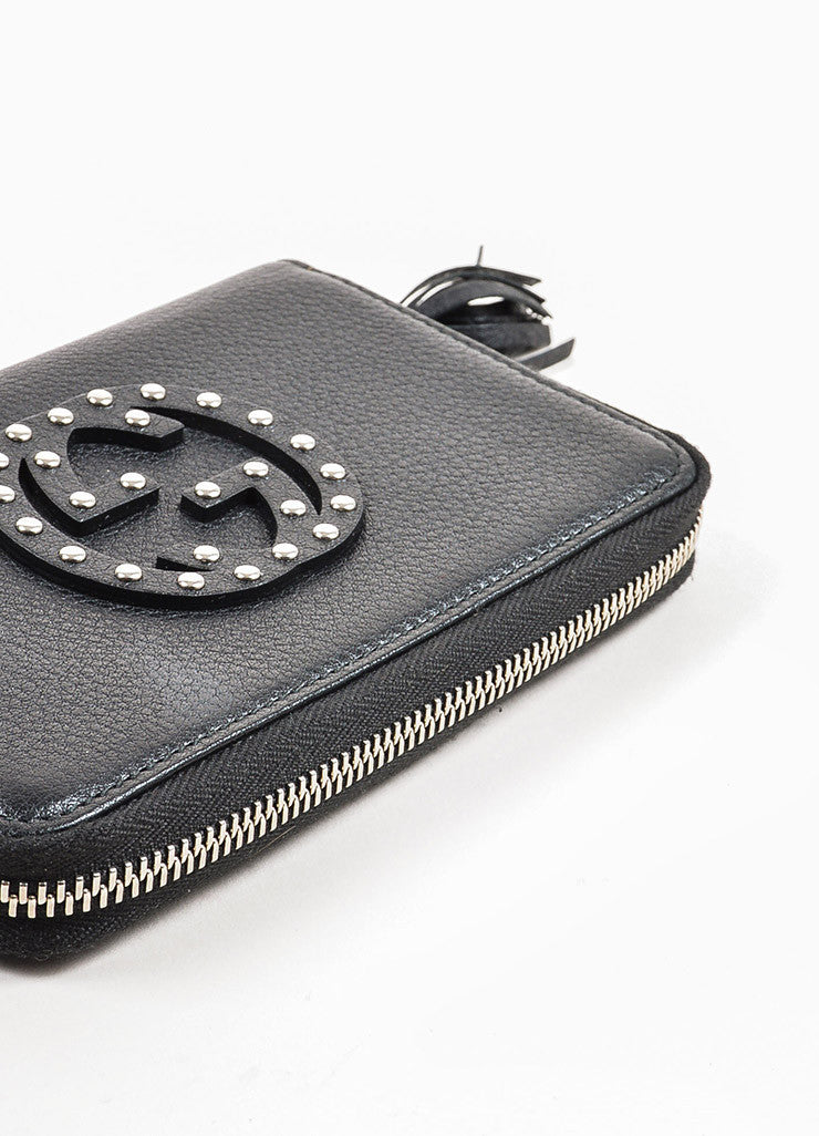 "Gucci Black Grained Leather Silver Toned Studded ""Soho"" Zip Wallet Bottom View"