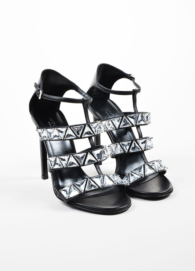Black Gucci Leather Crystal Embellished Caged Sandals Frontview