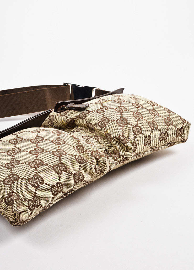 "Gucci Tan and Brown Canvas Leather Trim Monogram Print ""Original GG"" Belt Bag Bottom View"