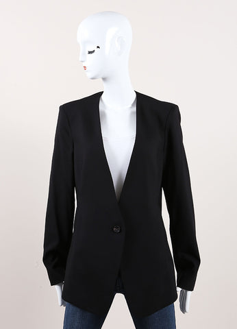 Helmut Lang New With Tags Black Wool Crepe Long Sleeve Smoking Jacket Frontview