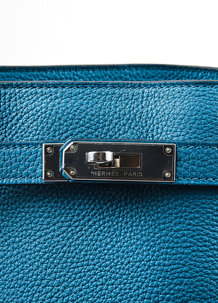 "Blue Hermes Togo Leather ""So Kelly 26"" Bucket Bag Closure"
