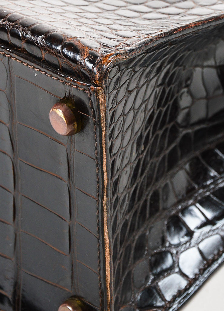 "Hermes Brown and Gold Toned Porosus Shiny Crocodile ""Kelly 32"" Handbag Detail 2"