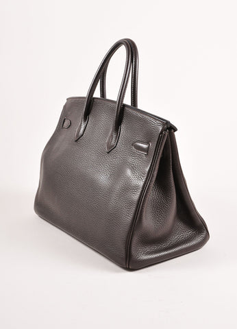 "Hermes Chocolate Brown and Silver Toned Palladium Clemence Leather 35cm ""Birkin"" Bag Sideview"