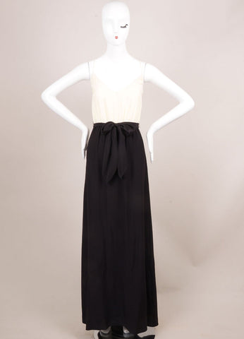 Holmes & Yang New With Tags Black and Ivory Silk Spaghetti Strap Maxi Dress Frontview