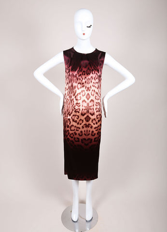 J Brand New With Tags Purple and Brown Leopard Print Sleeveless Shift Dress Frontview