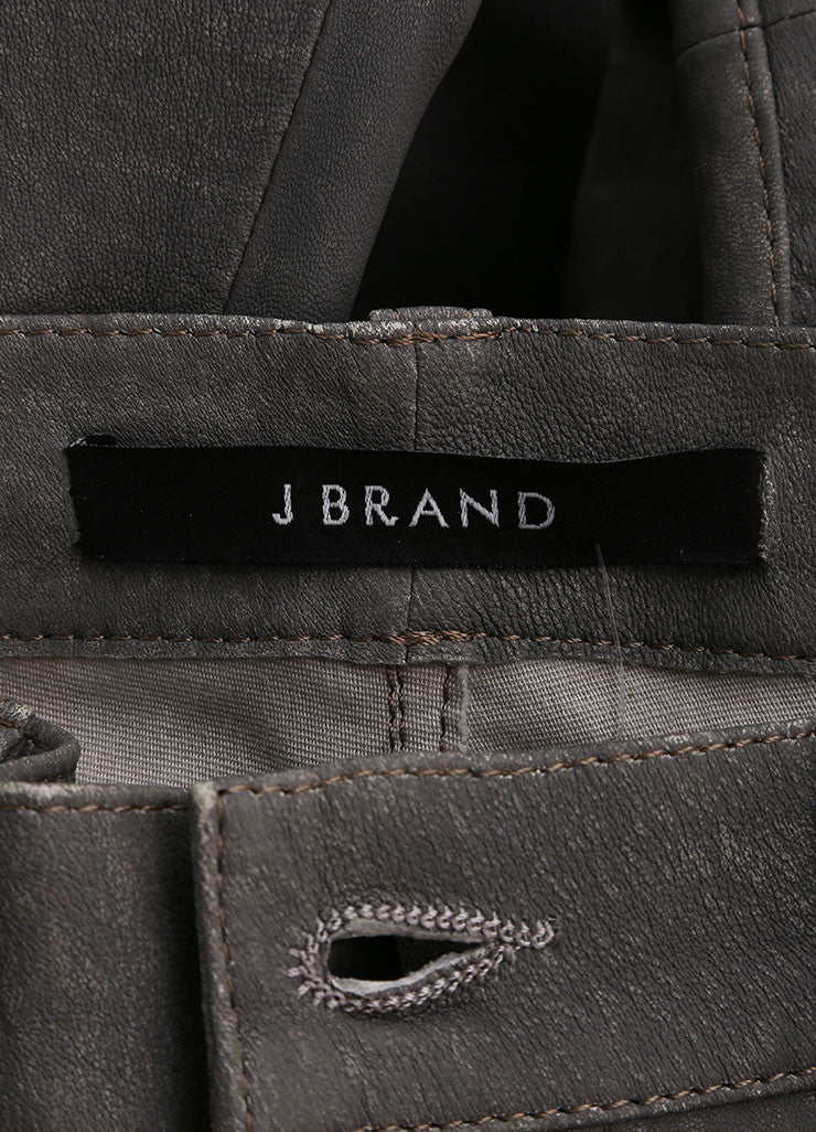 "J Brand Grey ""Rock"" Super Skinny Distressed Leather Pants Brand"