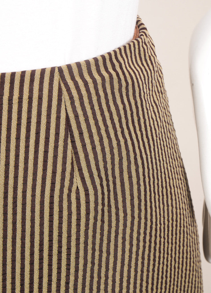 Kenzo Brown and Beige Textured Knit Contrast Stripe Layered Bubble Maxi Skirt Detail